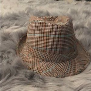 Accessories - Plaid Fedora with turquoise and orange
